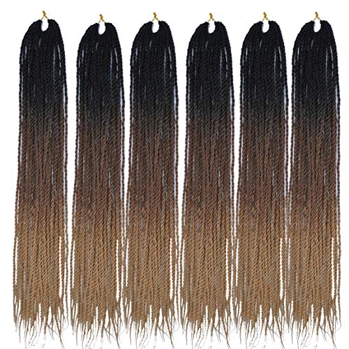 (MSCHARM 6Packs 24Inch 30Strands Long Soft Crochet Ombre High Temperature Senegalese Twist Braids Hair Synthetic Braiding Hair Extension(Black-Dark Brown-Light Brown)