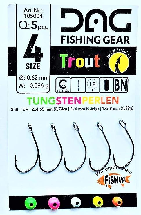 Tungsten und Haken der Firma FishUp mit Öhr in der Größe 6
