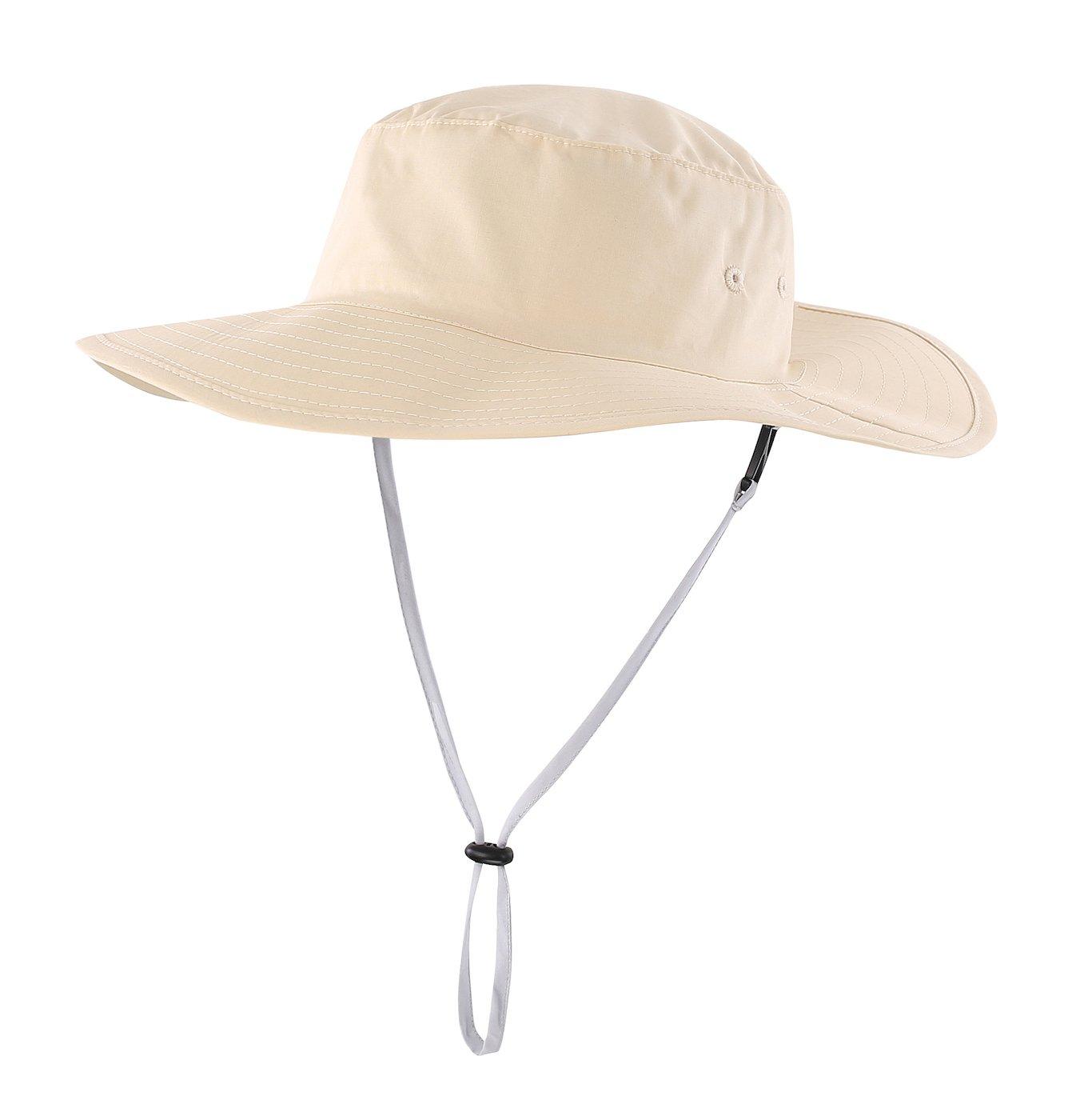 Home Prefer Kids Safari Sun Hat UPF 50+ Wide Brim Bucket Hat Boonie Hat with Chin Cord Beige