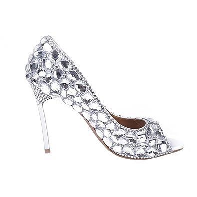 da4ced963f40 BoShi Women  Beach Wedding Pumps Crystal Peep Toe Bridal Shoes 7 US ...