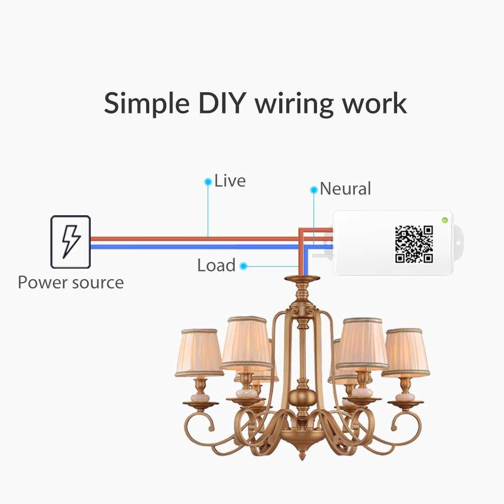 Wisqo Alexa Compatible Wi Fi Smart Light Switch Works With Google Chandelier Wiring In Parallel Home No Neutral Worry 1 Hub 2 Receiver Starter Kit