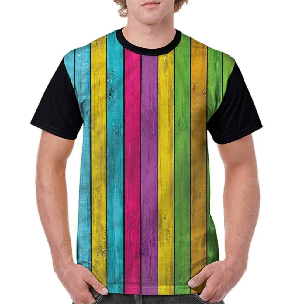 Vintage T-Shirt,Vibrant Vertical Plank Fashion Personality Customization