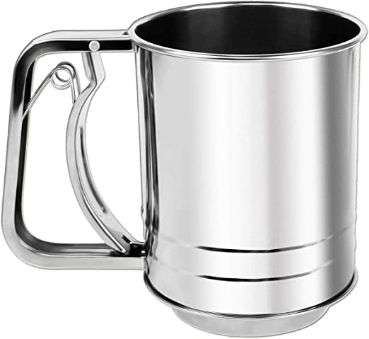 NPYPQ Stainless Steel Flour Sifter Medium Baking Sieve Cup for Powdered Sugar - 3 Cup