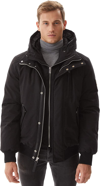 Molemsx Mens Down Jacket,Fashion Hooded Classic Down Flight Puffe Coat Winter Warm Outwear XS-3XL