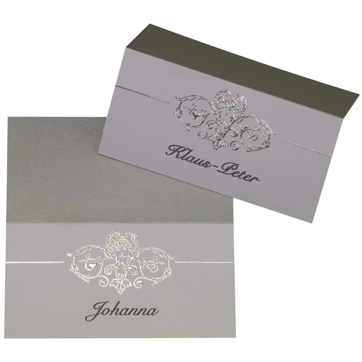 MyPaperSet 20 Platzkarten/Tischkarten mit Motiv aus Silberfolie, Herzen, Ranke - zur Hochzeit, Jubiäum - Zum Selberbedrucken