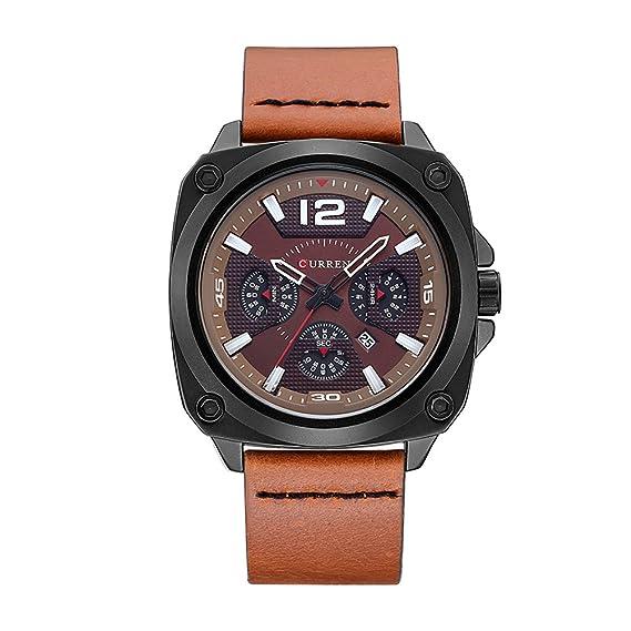 CURREN Hombres Top Brand Luxury Quartz Relojes Deportes Quartz-Watch Correa de cuero Reloj Militar