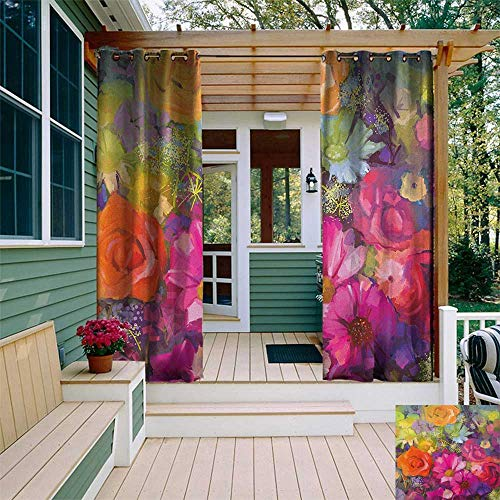 Daisy Balloons Gerbera (leinuoyi Floral, Outdoor Curtain Grommet, Vibrant Flower Bouquet with Daisy Peony Gerbera Petals Romantic Arrangement Print, Set for Patio Waterproof W108 x L108 Inch Multicolor)