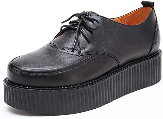 RoseG Homme Cuir Lacets Oxford Creeper Plateaforme Derby