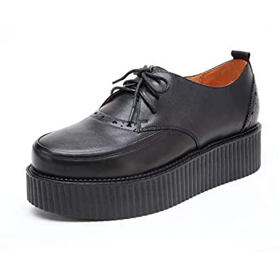 a49d6cb7e41d Mens Leather Lace Up Flat Platform Punk Creepers Brogues Oxfords Size5