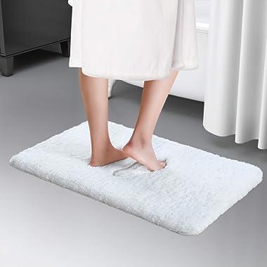 Lifewit 16 x24  Bath Mat Non-Slip Bathroom Rug Microfiber Water Absorbent, White