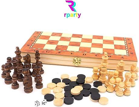 rparty Ajedrez de Madera 3 en 1 Plegable, Magnético,Tablero de Ajedrez 30X30 cm: Amazon.es: Juguetes y juegos