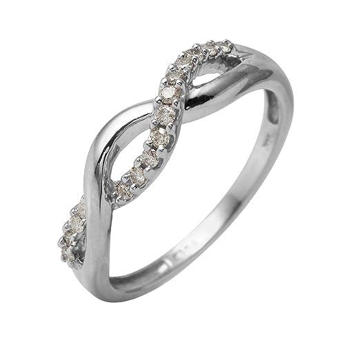 Alianza de boda de oro blanco de 10 quilates con diamante natural de 0,15