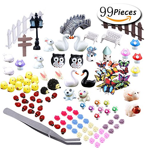 Miniature Garden Ornaments,99 Pcs Miniature Ornaments Kit Set