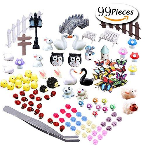 Older Miniature (Miniature Garden Ornaments,99 Pcs Miniature Ornaments Kit Set with 1 Pcs Tweezer for DIY Fairy Garden Dollhouse Decoration)