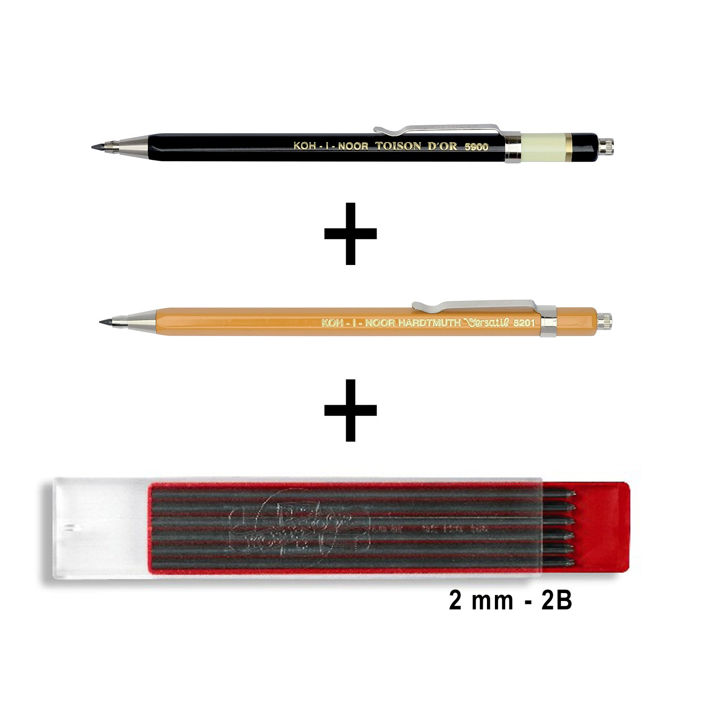 Koh-i-noor–N. 5900toisen d' Or e No. 5201VERS atil in metallo stampa matite con mina Temperino–Mina spessore 2mm–Set da pezzi, colori: nero e giallo 2 Stifte + Minen Koh-I-Noor Hartmuth a.s.