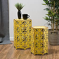 Great Deal Furniture (Set of 2) Utica Antique Style Yellow Accent Table
