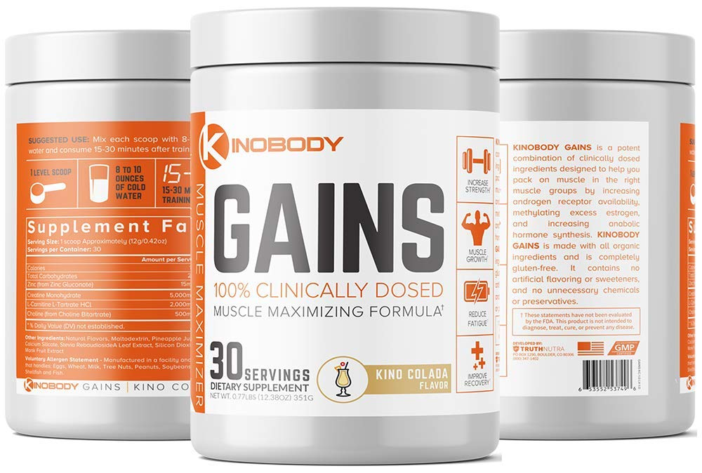 KinoBody: Kino Gains - Best Post Workout Supplement - Kino Colada Flavor - 30 Servings - Helps Pack On Muscle - Improves Strength & Performance - Reduce Fatigue - Made with All Natural Ingredients