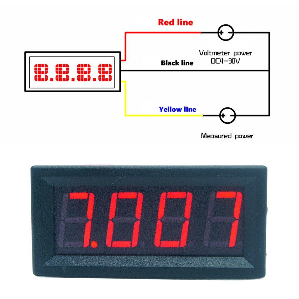 0.56 Pulgadas DC 0-100V Volt/ímetro Panel LED Pantalla digital Medidor de voltaje 3 alambres Volmeter rojo para motocicletas Autom/óviles Autos Bicicletas Camiones Botes Campistas Probadores