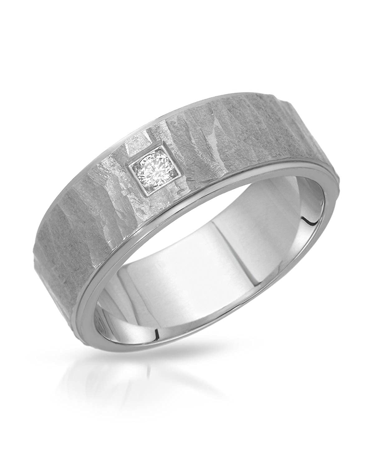 Teno Stainless Steel 0.04 CTW Color F, VS1 Diamond Band Unisex Ring. Ring Size 7.5. Total Item weight 5.8 g.