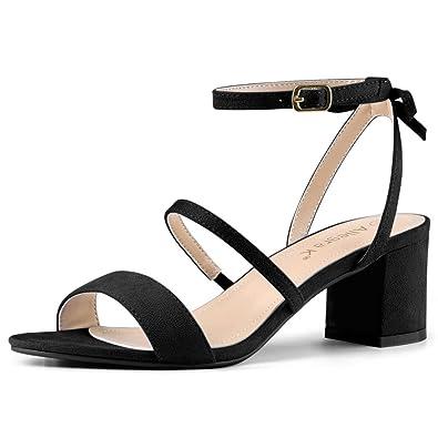 951074f87 Allegra K Women s Slingback Bow Ankle Strap Block Heels Black Sandals - 6  ...