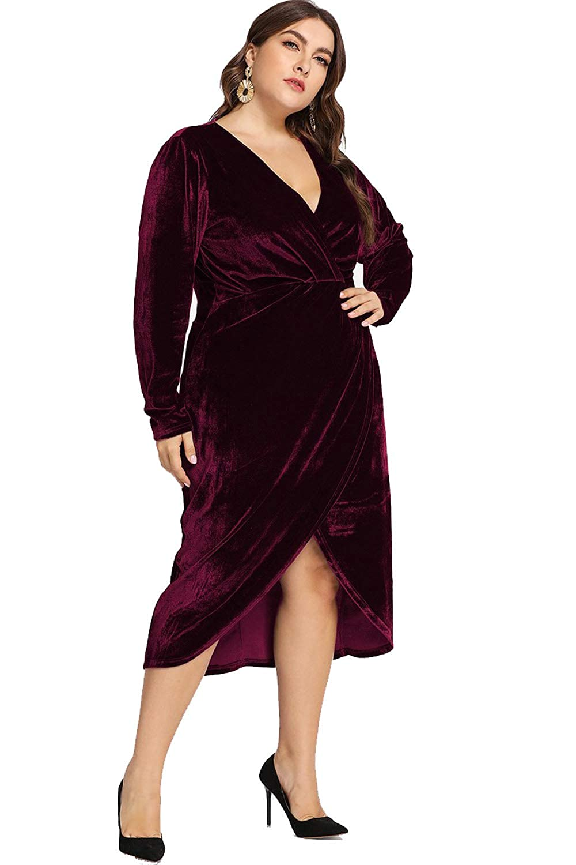 58ed04ab06aa ESPRLIA Women's Plus Size High Waist Velvet Sexy Faux Wrap Pencil Cocktail  Midi Dresses