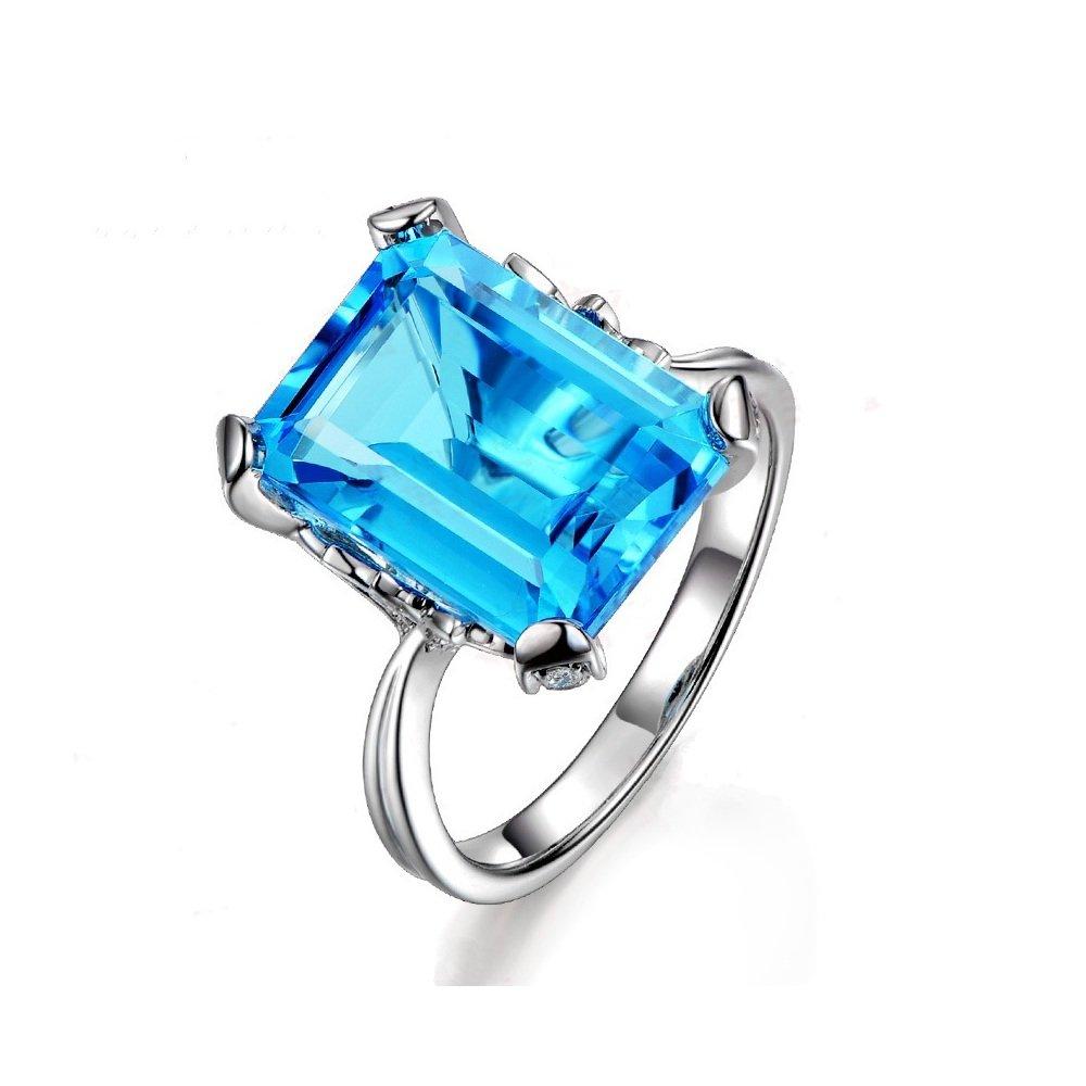 Uloveido Big Emerald Cut Ocean Blue Square Halo Ring Statement Wedding Engagement Promise Fashion Jewelry RJ292-8 by Uloveido