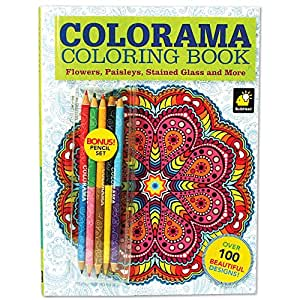 Colorama Coloring Book Flowers Paisleys Stained Glass And More