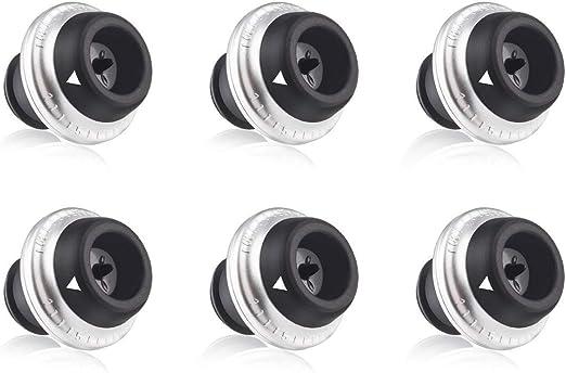 Wine Bottle Saver Vacuum Stoppers Preserver Saver Vacu Vin Set of 6 Black New