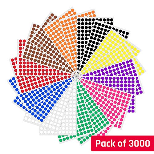 1cm Round Colour Coding Circle Sticker Labels - 10 Colours, Pack of 3000