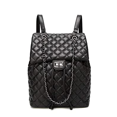 eb57a9b2ccbac Amazon.com  Women Fashion Large PU Leather Backpack Quilted Black Purse  Ladies Daypack Shoulder Bag  Shoes