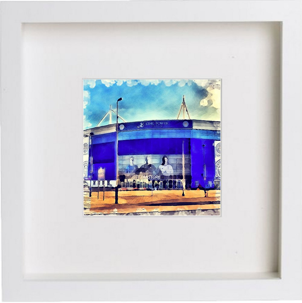 Wall Art Watercolour Print of Leicester City Football Club, The King Power Stadium | with Stylish Contemporary 23x23cm Frame 96 Images of Glasgow