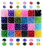 Efivs Arts 24 Assorted 8mm Handcrafted Rondelle Briolette Faceted Spacer Glass Beads for DIY Craft Bracelet Necklace Jewelry Making,960 Pieces/Box