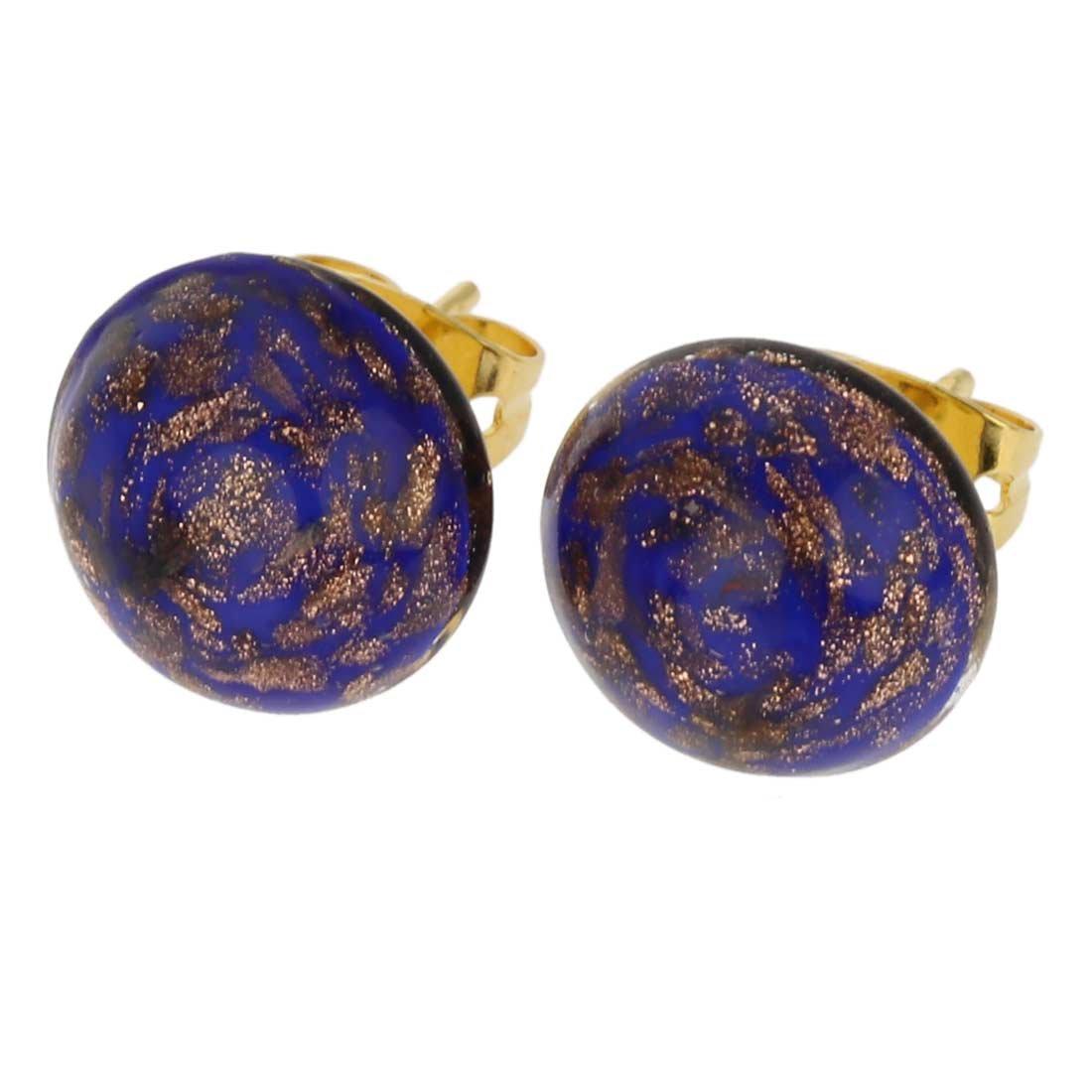 GlassOfVenice Murano Glass Starlight Small Stud Earrings - Navy Blue