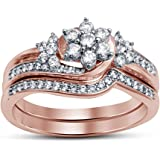 TVS JEWELS Beautiful 14k Rose Gold Plated Sterling Silver In Wedding Bridal Ring Set With Round