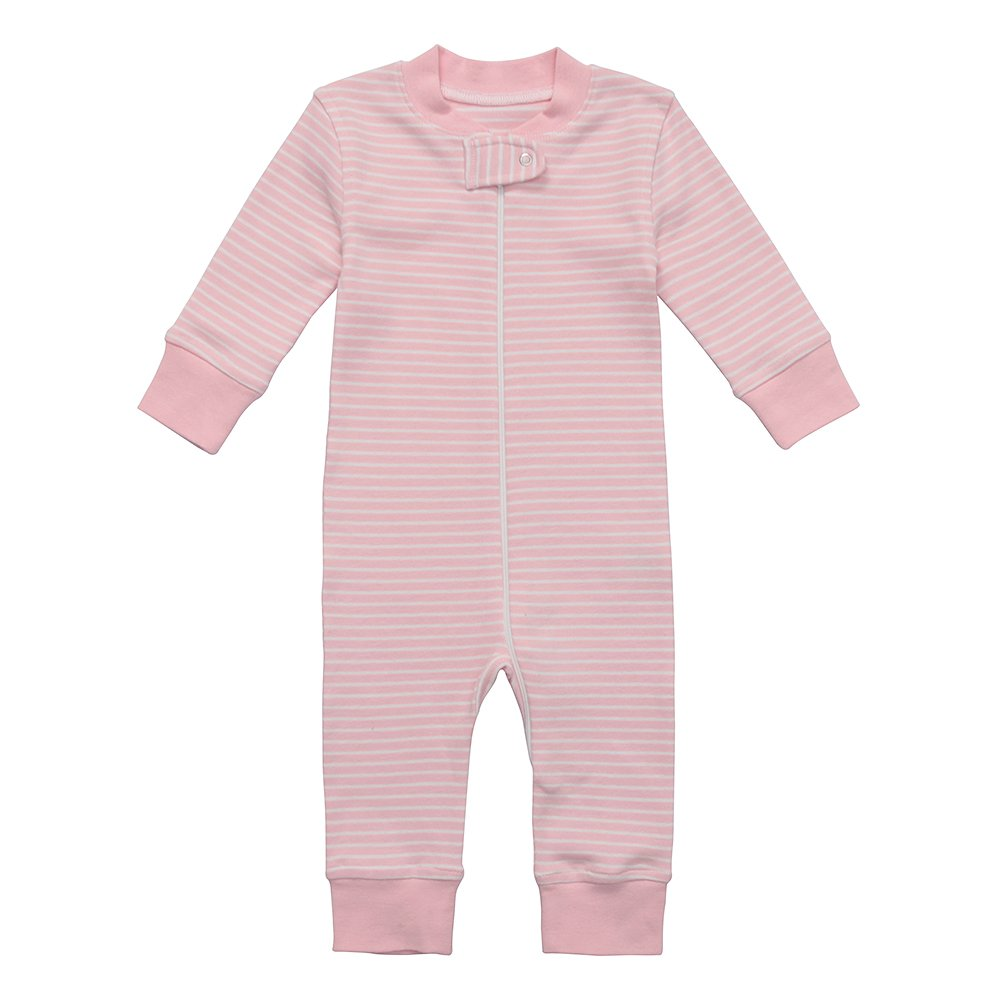 Owlivia Organic Cotton Baby Boy Girl Zip up Sleep N Play, Footless, Long Sleeve (Size 0-18 Month) (12-18 Months, Pink Stripe)