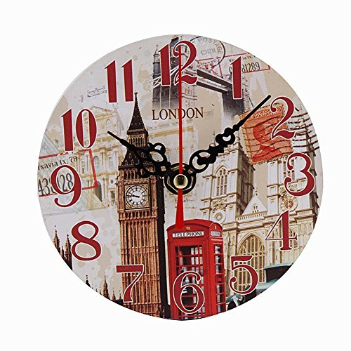 Mailbox Clock (Clock, HaiHui Wooden Decorative Round Vintage Antique London Mailbox Style Silent Retro Ticking Clock For Home Office Wall (B))