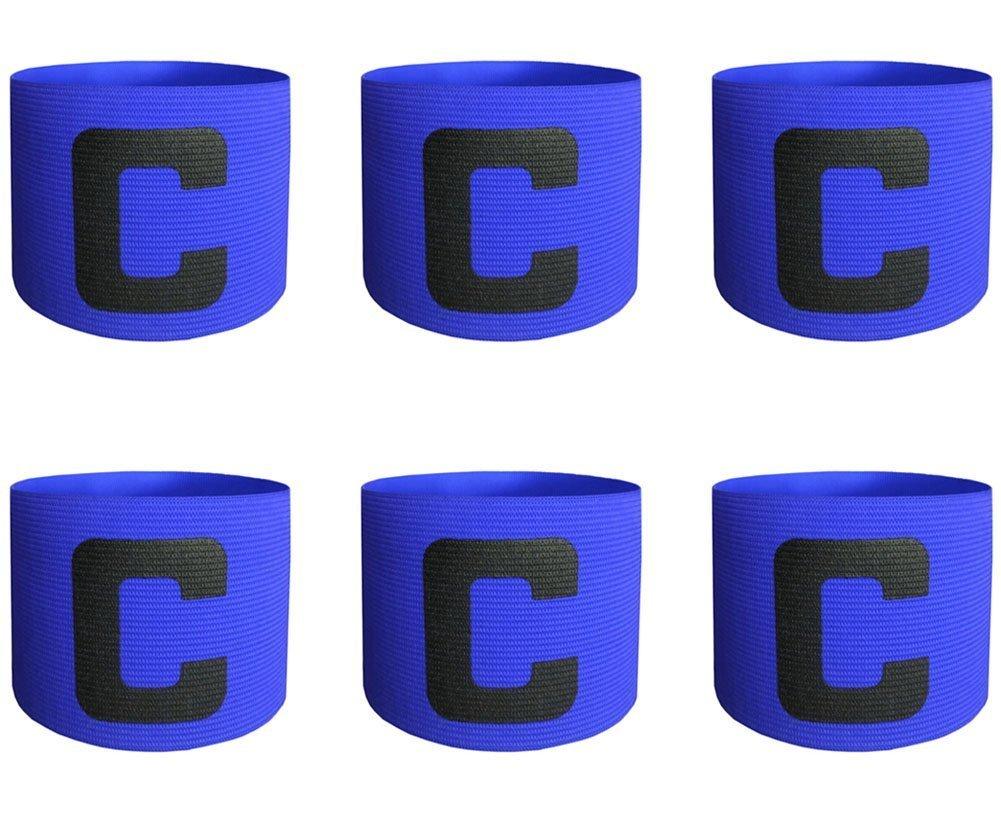 ALIXIN cp000Captain-Bänder, elastische für Fußball Captain armband- 6-pack: blau