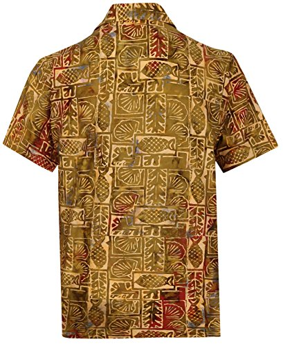 La Leela* Arbre Aloha Hommes en Coton Bouton Hawaiien Vers le Bas DOr Chemise Tropicale O