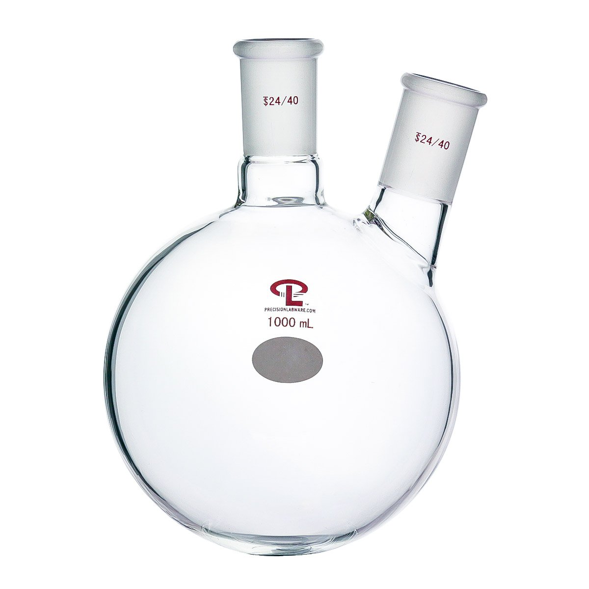 Precision 1000mL 24/40 Two Neck Round Bottom Flask, Heavy Wall, Borosilicate Glass