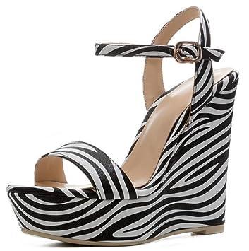 Fiesta Mujer Plataforma Zapatos Tobillo Cuña Cebra De Correa wPFwq6E