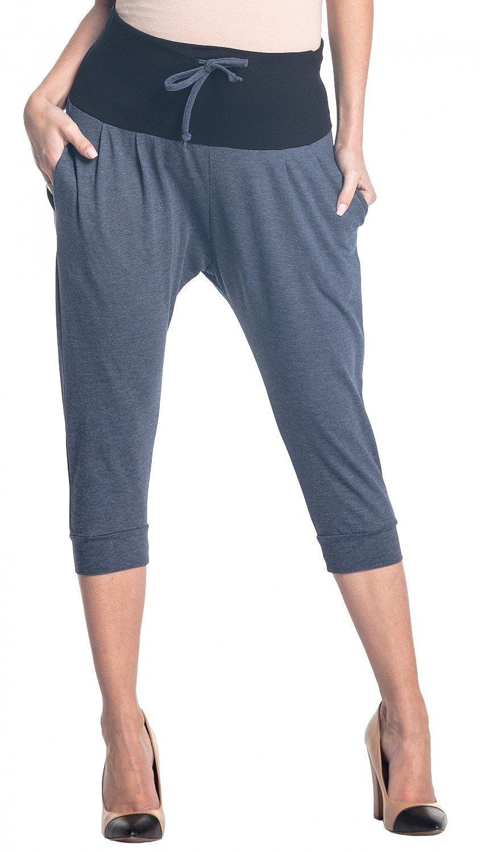 Zeta Ville - Women's Maternity Capri Pants Stretch Contrast Waistband - 582c maternity_pants_582