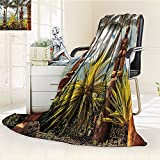 Palm Tree Blanket Tropical Island Ocean Hawaii Tiki Mask Wall Custom Art Pictures Fine Art for Bedroom Living Room Home Decorations Fabric Room Dividers Dorm Accessories Brown Mustard Green White
