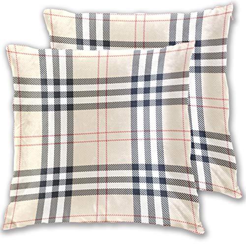 Vintage Plaid Cushion Covers 18 X Inch Throw Pillow Home Decor Cases Sham With Zipper Set Of 2 Cotton Velvet
