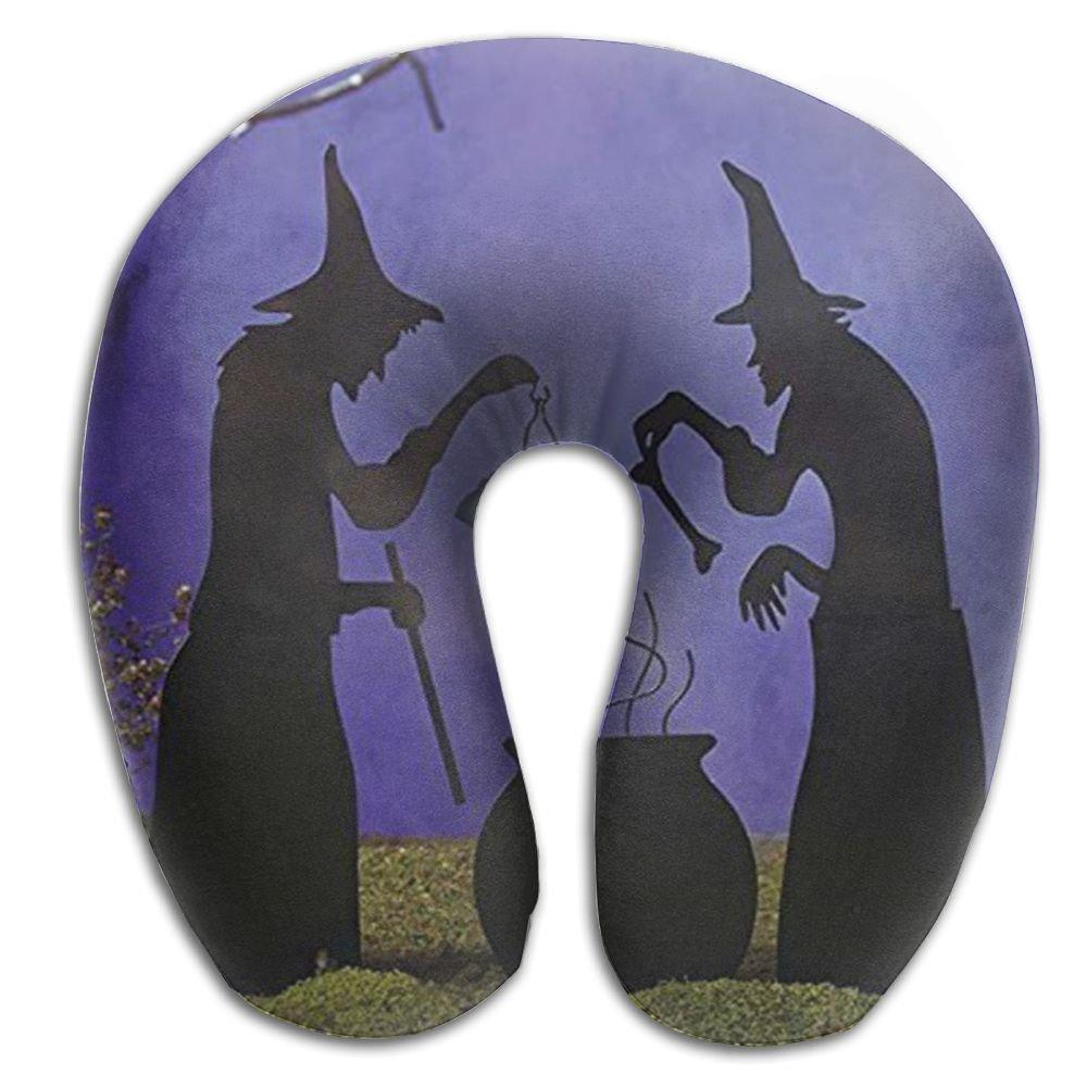 Pj59dUg Witch Cauldron Pot Solar Lighted Lantern Halloween Silhouette Sleep Artifact - U-Shaped Pillow,Comfortable Travel Neck Pillow to Sleep at Any Time