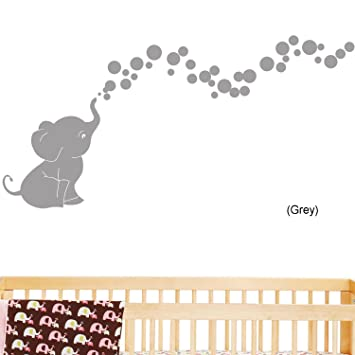 Beau Elephant Bubbles Nursery Wall Decal Set (Grey)