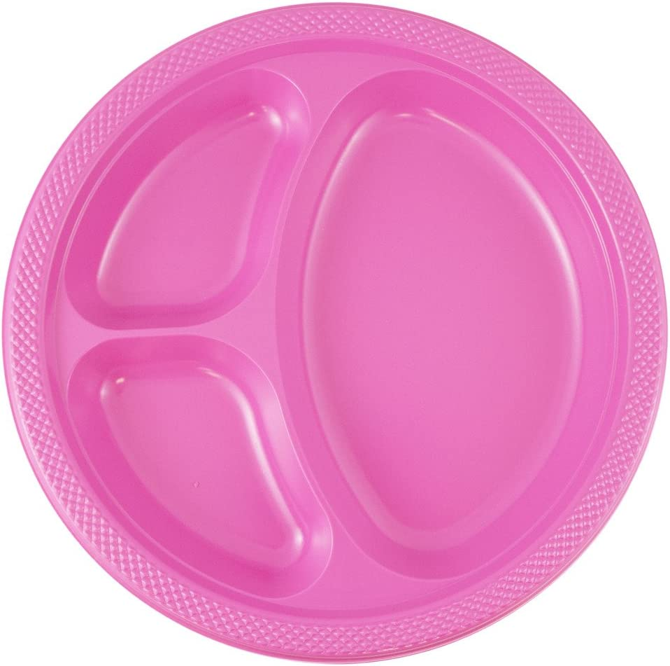 JAM PAPER Plastic 3 Compartment Divided Plates - Large - 10 1/4 inch - Fuchsia Hot Pink - 20/Pack