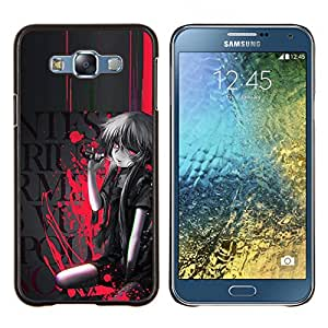 LECELL--Funda protectora / Cubierta / Piel For Samsung Galaxy E7 E700 -- Sangre salpicadura de la muchacha de la historieta --