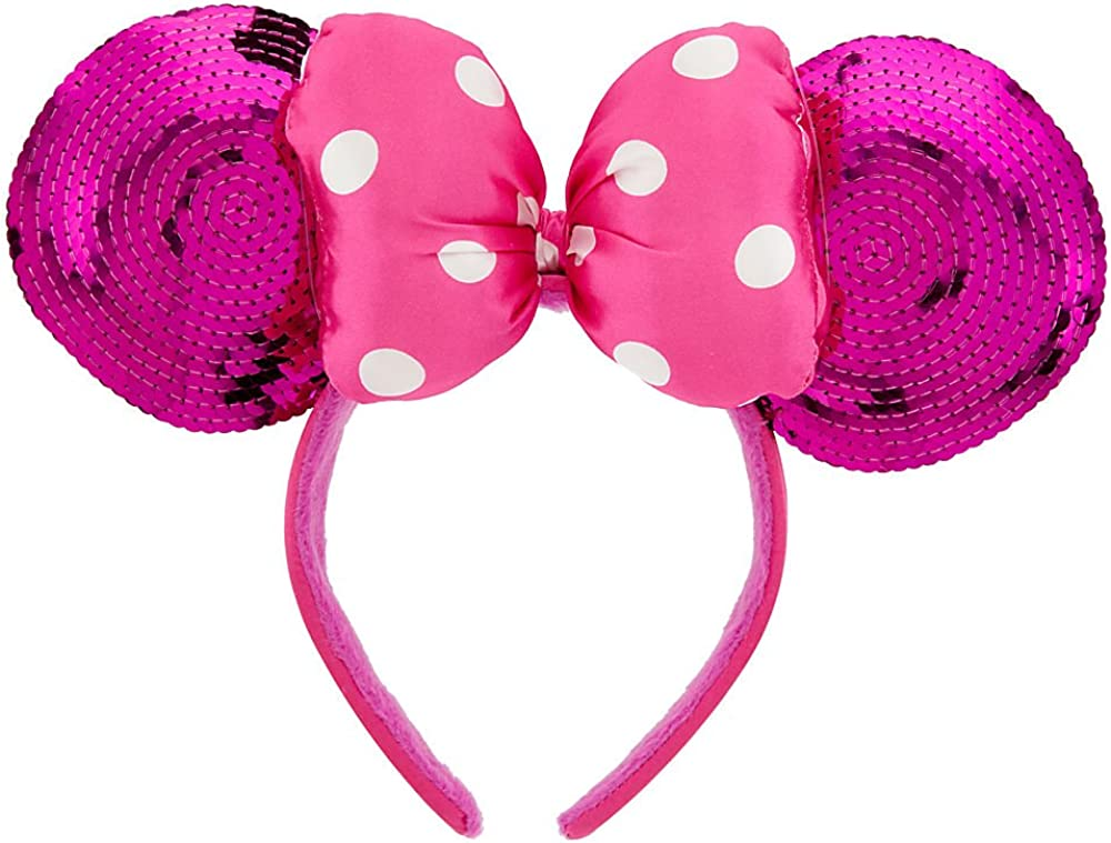 NWT Women/'s Disney Pink Minnie Mouse Glitter Ears Headband
