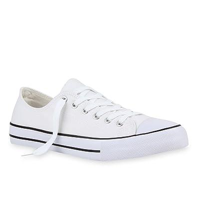 Herren Sneakers Freizeit Sport Schnürer StoffFitness Streetstyle Viele  Farben Schuhe 109474 Weiss-Schwarz 36 Flandell