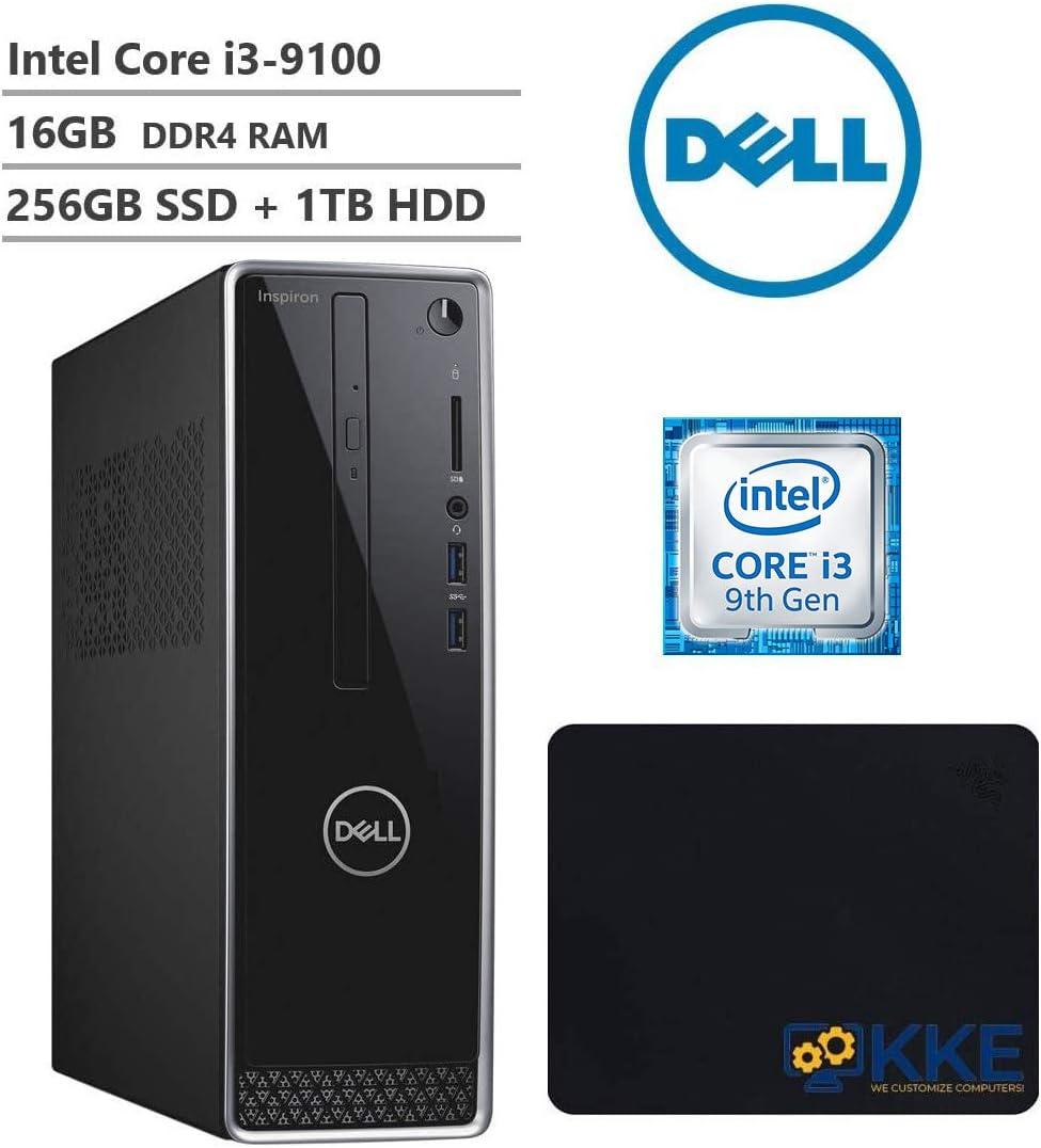 2020 Dell Inspiron 3471 Small Form Mini Desktop, 9th Gen Core i3-9100 3.60 GHz, 16GB DDR4 RAM, 256GB M.2. SATA SSD(Boot) + 1TB HDD, 802.11bg, HDMI, VGA, DVD-RW, KKE Mousepad Bundle, Windows 10